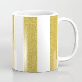 Stripes, Parallel Lines, Gold Glitter Coffee Mug