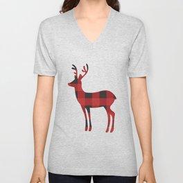 Reindeer With Cute Red & Black Buffalo Check Christmas/ Buffalo Plaid Reindeer Shirt Unisex V-Neck