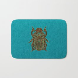 Egyptian Scarab Beetle - Leather & Gold on teal Bath Mat