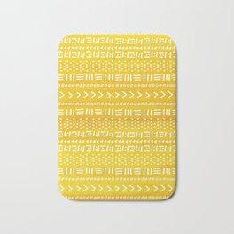Yellow Boho Stripes Pattern Bath Mat