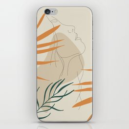 Minimal Line Art Woman And Palm Leaves #Society6 #Buyart iPhone Skin