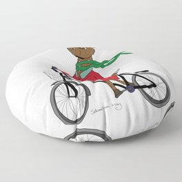 Diego the Deer Rides his Bicycle Floor Pillow