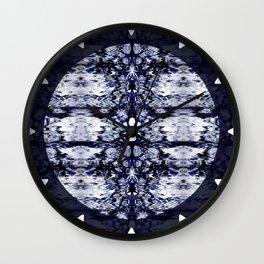 Modern Bohemian Indigo Blue Pattern Wall Clock