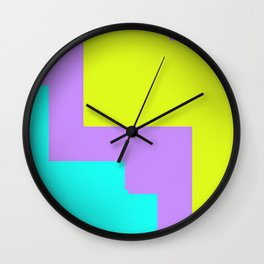 Purple yellow and blue abstract art Wall Clock
