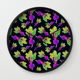 Feel the Beet in Skillet Black + Electric Purple Wall Clock