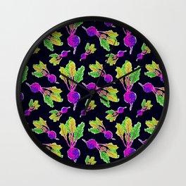 Feel the Beet in Skillet Black + Electric Purple Wall Clock