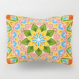 Costa Rica Folk Pattern – Decorated painting wheel of coffee ox cart Pillow Sham
