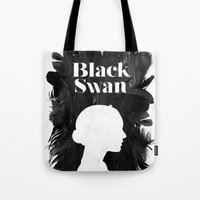 black swan Tote Bags featuring Black Swan by Bill Pyle