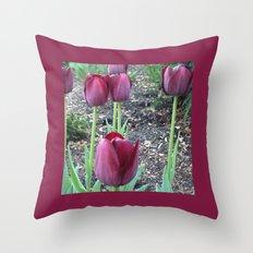 Queen of Night Tulips Throw Pillow
