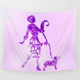 Purple glam lady & dog super plastic fantastic Wall Tapestry
