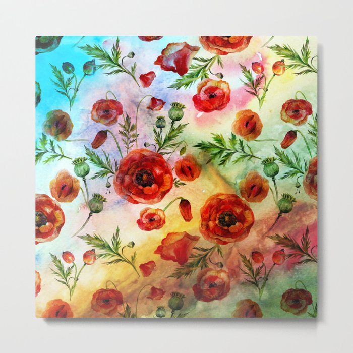 Poppy LOVE pattern- Poppies and Flowers on colorful watercolor background  on #Society6 Metal Print