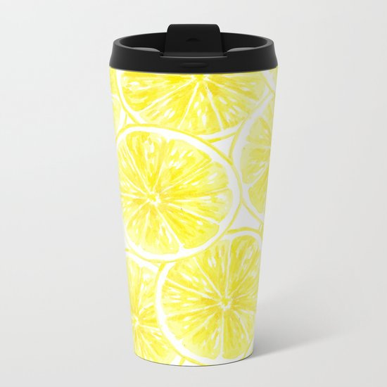 Lemon slices pattern watercolor Metal Travel Mug