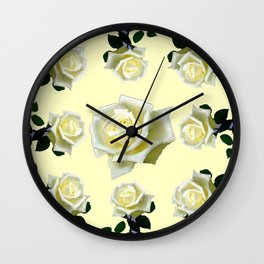 B&W WHITE ROSE GARDEN DESIGN PATTERN Wall Clock