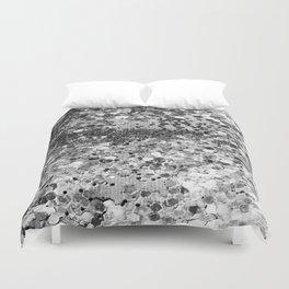 Sparkly Silver Glitter Confetti Duvet Cover
