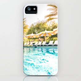 Poolside Parker Palm Springs Hot Day Blue and Yellow  iPhone Case