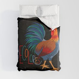 DeColores Cursillo Rooster On Black Comforters