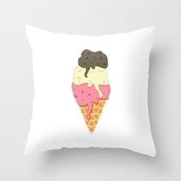 Strawberry-Vanilla-Chocolate Ice Cream Sundae Throw Pillow