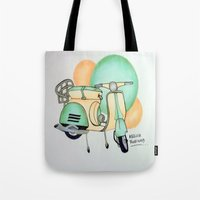 vespa Tote Bags featuring Vespa  by Melissa Rodriguez