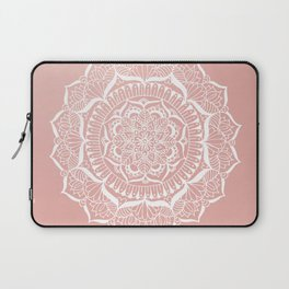 White Flower Mandala on Rose Gold Laptop Sleeve
