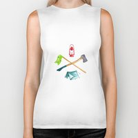 camping Biker Tanks featuring Camping by Whimsy Milieu