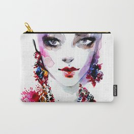 Red blue beauty fashion illustration Carry-All Pouch