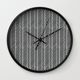 Herringbone Black Inverse Wall Clock