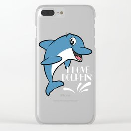 Love dolphins, I love dolphins T-shirt Dolphin are the animals, the mammals. Love Dolphins Clear iPhone Case