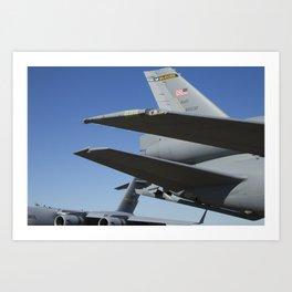 KC10 KC-10 Military Refueling Airplane And C17 C-17 Globemaster Cargo Aircraft USAF Art Print