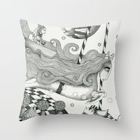 lake Throw Pillows featuring East of Blue Lake by Judith Clay