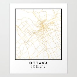OTTAWA CANADA CITY STREET MAP ART Art Print