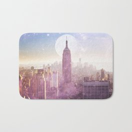 I LOVE PINK NEW YORK CITY SKYLINE - Full Moon Universe Bath Mat