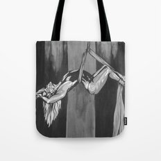 Hanging by a Thread Black and White Tote Bag