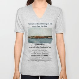 Wilmington, NC on the Cape Fear River Unisex V-Neck
