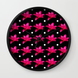 Pink Lily Pattern Wall Clock