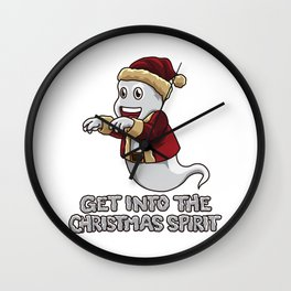 Get Into The Christmas Spirit - Funny Xmas Ghost Wall Clock