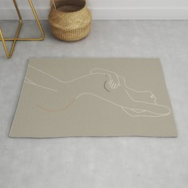 Minimal Line Art Woman Figure II Rug