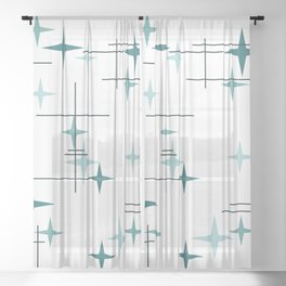 Mid Century Modern Stars (Teal) Sheer Curtain