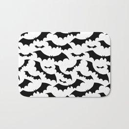 Halloween print. Black bats on white background. Bath Mat