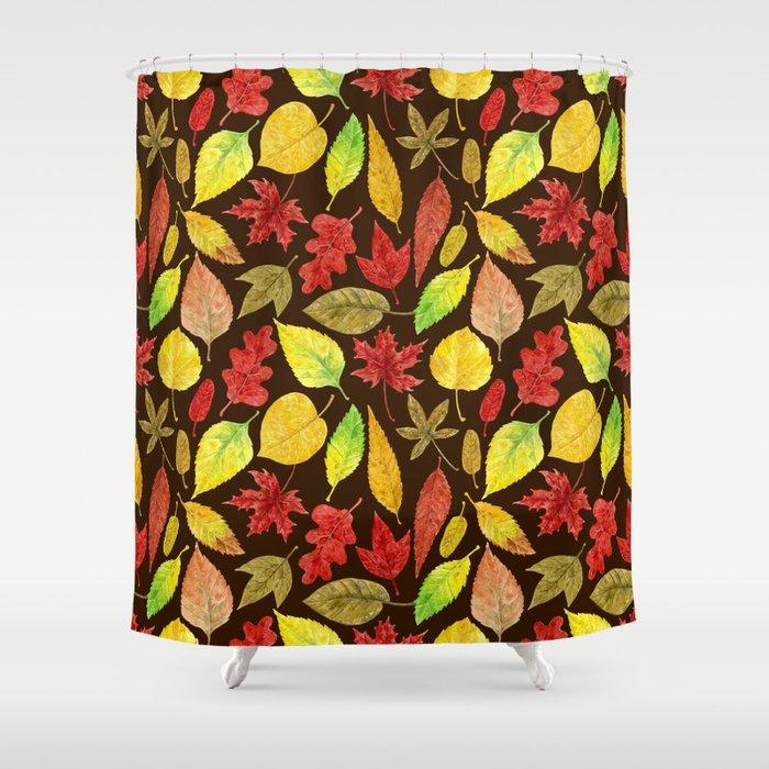 Autumn Leaves Watercolor Dark Shower Curtain