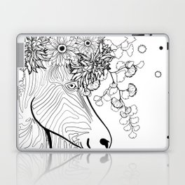 Zebra With Flowers in its Hair - Wearable Coloring Page Laptop & iPad Skin