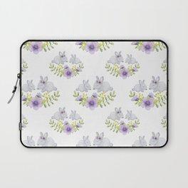 Purple lavender white bunny watercolor floral illustration Laptop Sleeve