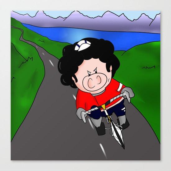 Cycling pig Canvas Print