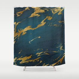 Teal Gold Marble Shower Curtain
