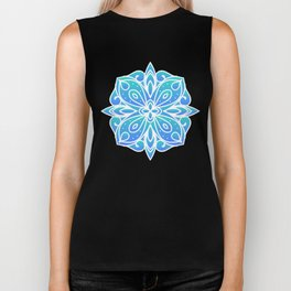 Decorative Layers of Blue Flowers Biker Tank