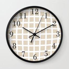 Linen Cream Checkered Pattern Wall Clock