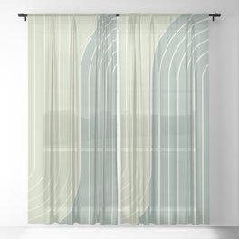 Two Tone Line Curvature XXX Sheer Curtain