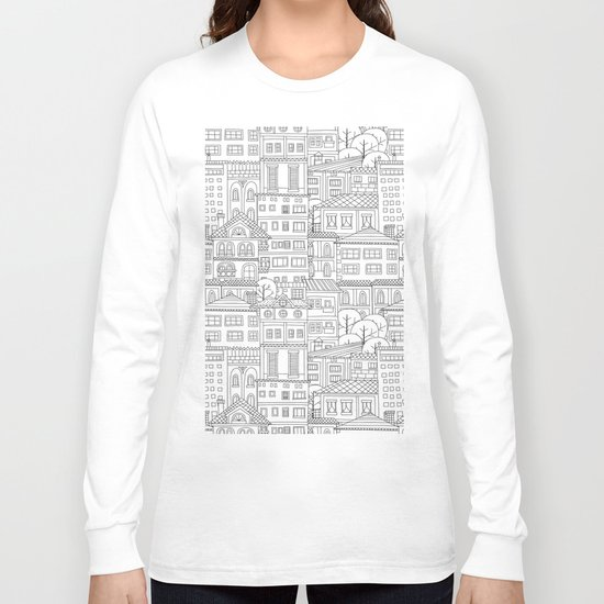 Doodle town pattern Long Sleeve T-shirt