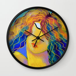 Woman with Colorful Hair Abstract Digital Painting Wall Clock