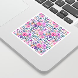 Pink mauve lilac hand painted watercolor roses floral stripes Sticker
