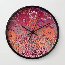 Psychedelic Ombre Flower Doodle Wall Clock